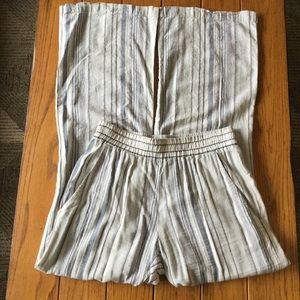 Drew Wide Leg Linen Chambray Striped Pant